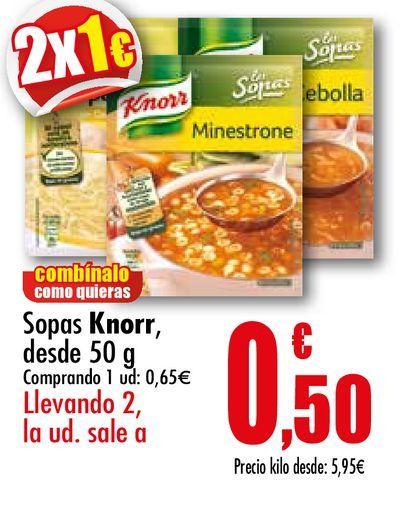 Oferta de Sopas Knorr, desde 50 g por 0,65€