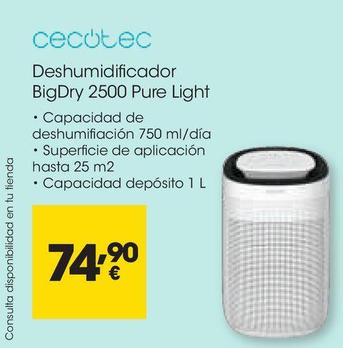 Oferta de CECOTEC Deshumidificador BigDry 2500 Pure Light por 74,9€