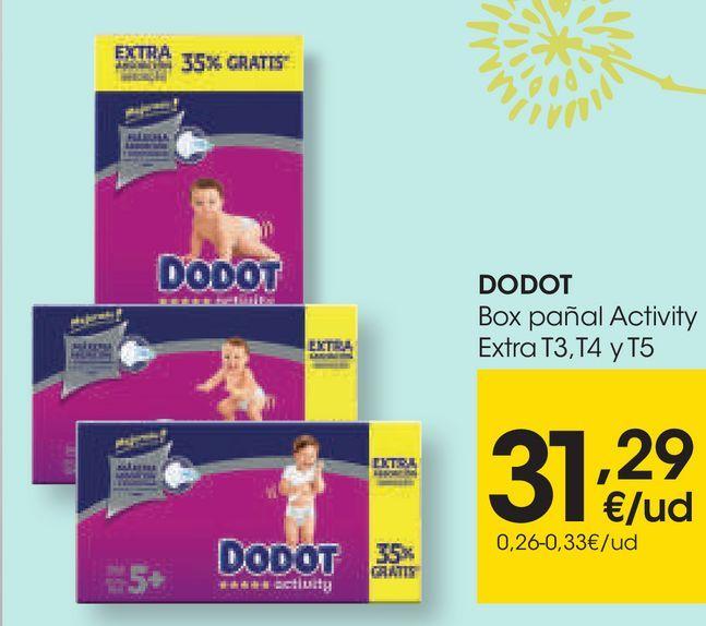 Oferta de DODOT Box pañales Activity Extra por 27,99€