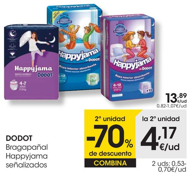 Oferta de DODOT Bragapañal Happyjama señalizados por 13,89€
