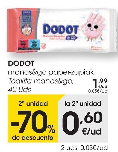 Oferta de DODOT Toallita manos&go por 1,99€