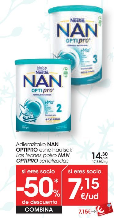 Oferta de Las leches polvo NAN OPTOPRO Señalizadas  por 14,3€