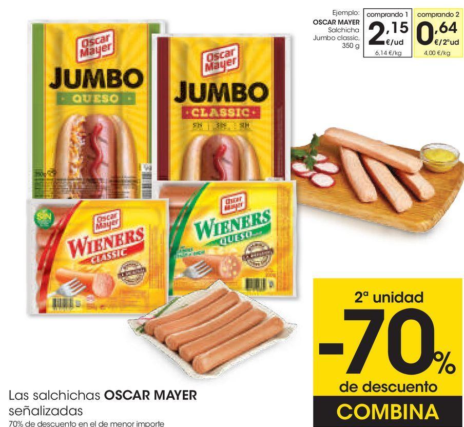 Oferta de OSCAR MAYER Salchicha Jumbo classic por 2,15€