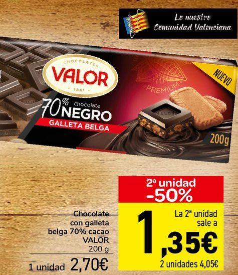 Oferta de Chocolate con galleta belga 70% cacao VALOR  por 2,7€