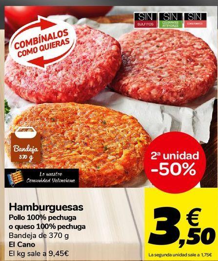 Oferta de Hamburguesas Pollo 100% pechuga o queso 100% pechuga El Cano por 9,45€