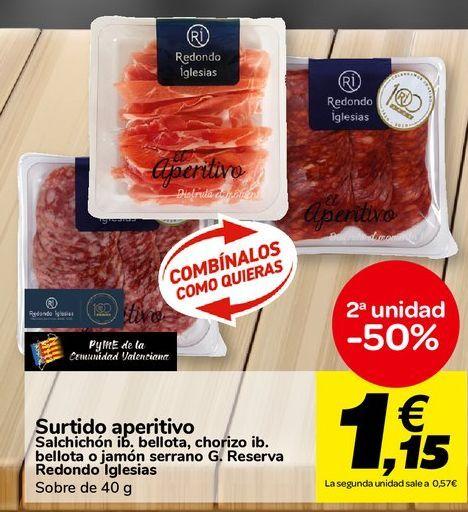 Oferta de Surtido aperitivo Salchichón ib. bellota, chorizo ib. bellota o jamón serrano G. Reserva Redondo Iglesias por 1,15€