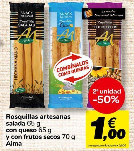 Oferta de Rosquillas artesanas salada con queso y con frutos secos Aima por 1€