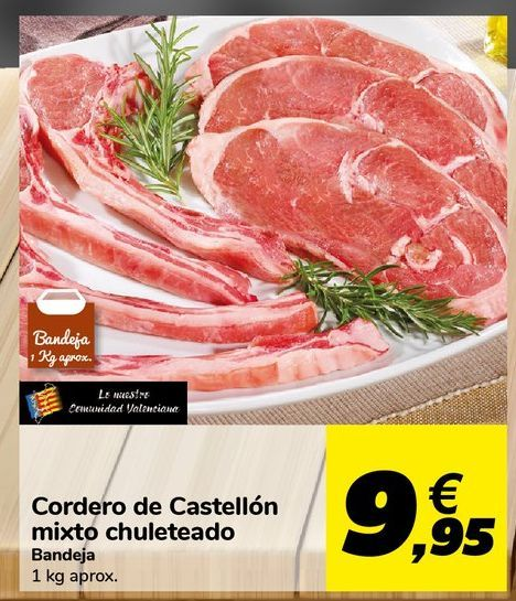 Oferta de Cordero de Castellón mixto chuleteado  por 9,95€