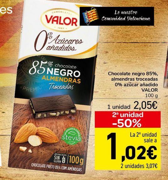 Oferta de Chocolate negro 85%, almendras troceadas 0% azúcar añadido VALOR  por 2,05€