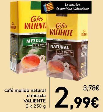 Oferta de Café molido natural o mezcla VALIENTE  por 2,99€