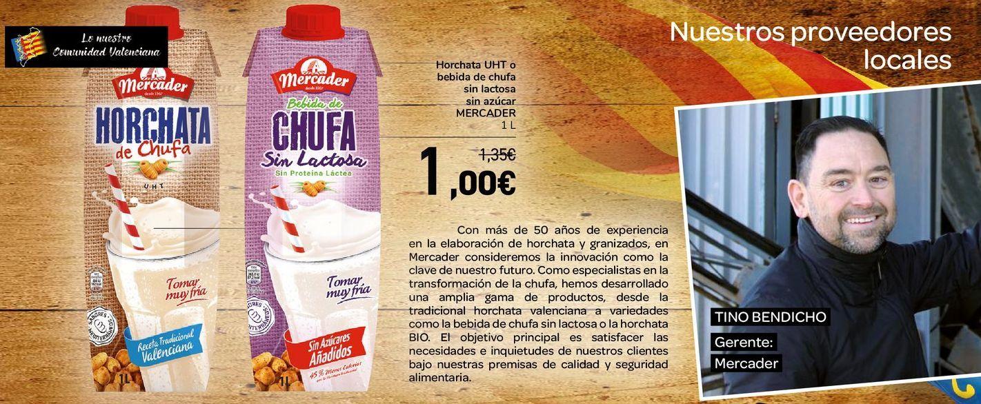 Oferta de Horchata UHT o bebida de chufa sin lactosa sin azúcar MERCADER  por 1€