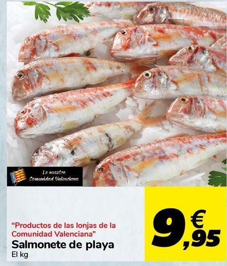 """Oferta de """"Productos de las lonjas de la Comunidad Valenciana"""" Salmonete de playa por 9,95€"""