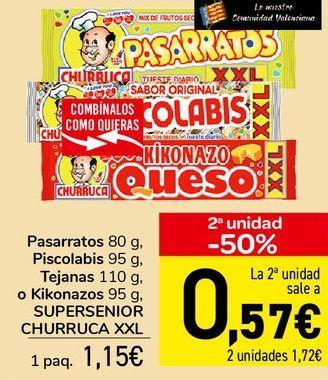 Oferta de Pasarratos, Piscolabis, Tajanas o Kikonazos SUPERSENIOR CHURRUCA XXL  por 1,15€