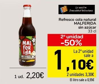 Oferta de Refresco cola natural MALDERIDA Sin azúcar  por 2,2€