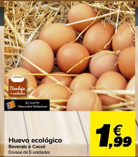 Oferta de Huevos ecológico Boverals o Coccó por 1,99€