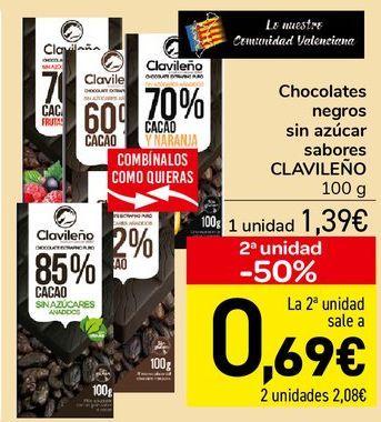 Oferta de Chocolates negros sin azúcar sabores CLAVILEÑO  por 1,39€
