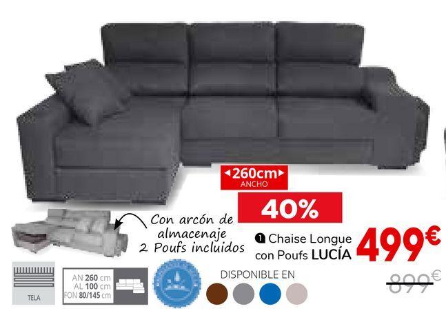 Oferta de Chaise Longue con Poufs Lucía por 499€