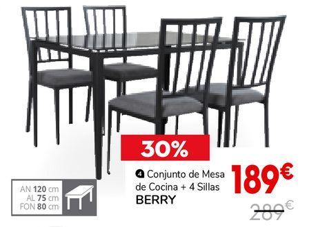 Oferta de Conjunto de mesa de cocina + 4 sillas por 189€