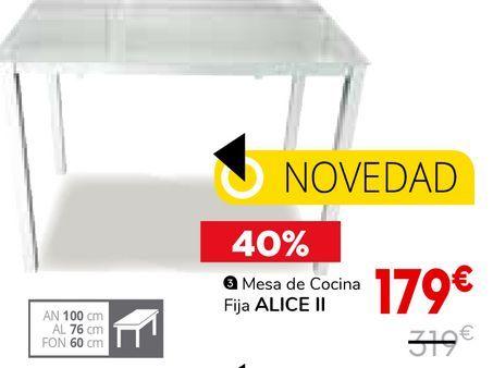 Oferta de Mesa de cocina fija Alice ll por 179€