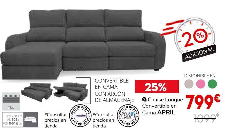 Oferta de Chaise Longue convertible en cama por 799€