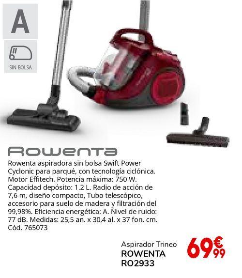 Oferta de Rowenta aspiradora sin bolsa Swift Power Cyclonic para parqué por 69,99€