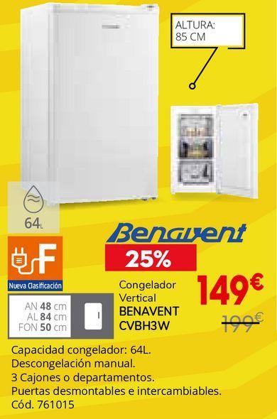 Oferta de Congelador vertical Benavent por 149€