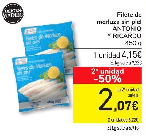 Oferta de Filete de merluza sin piel ANTONIO Y RICARDO por 4,15€