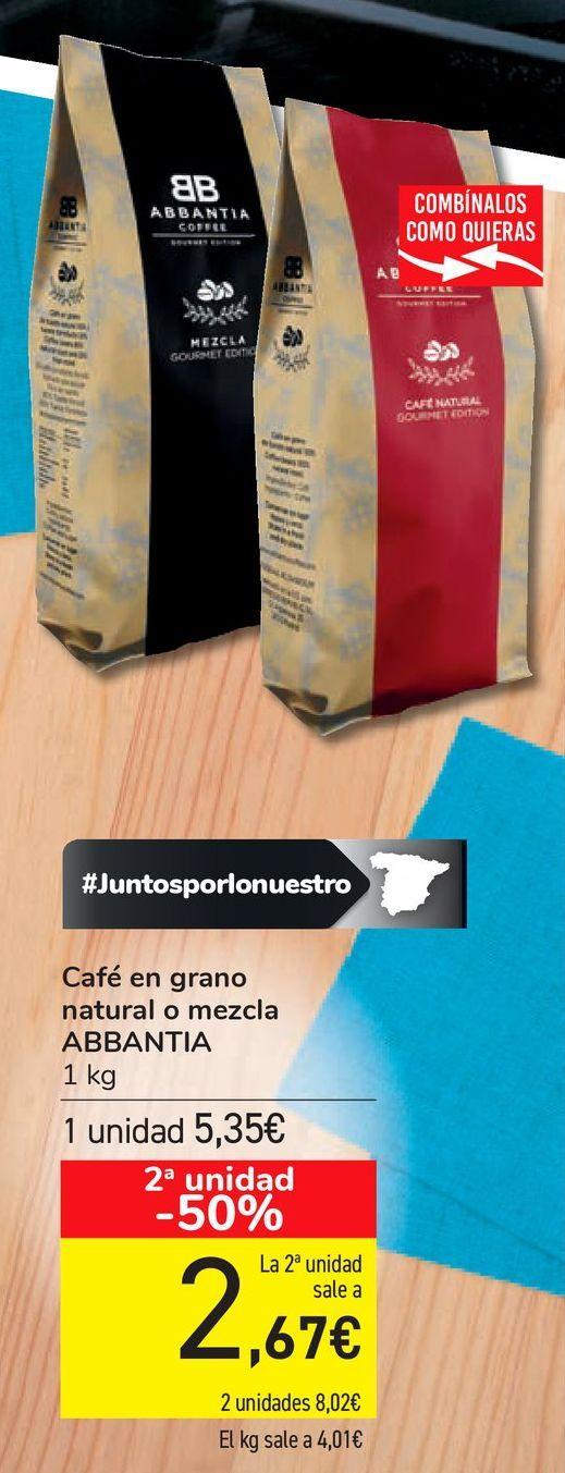 Oferta de Café en grano natural o mezcla ABBANTIA por 5,35€