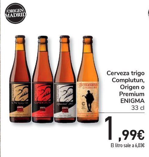 Oferta de Cerveza trigo Complutun, Origen o Premium ENIGMA por 1,99€
