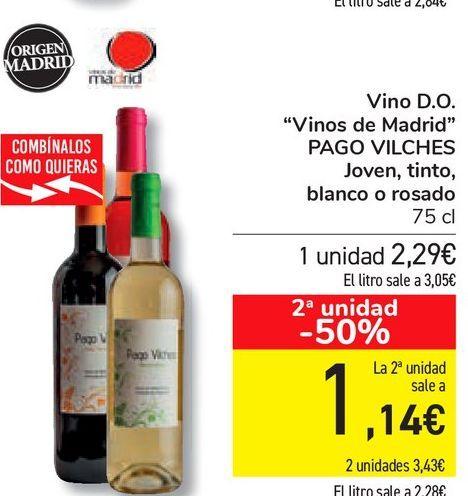 "Oferta de Vino D.O. ""Vinos de Madrid"" PAGO VILCHES Joven, tinto, blanco o rosado por 2,29€"