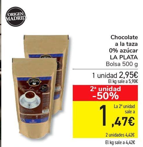Oferta de Chocolate a la taza 0% azúcar LA PLATA por 2,95€