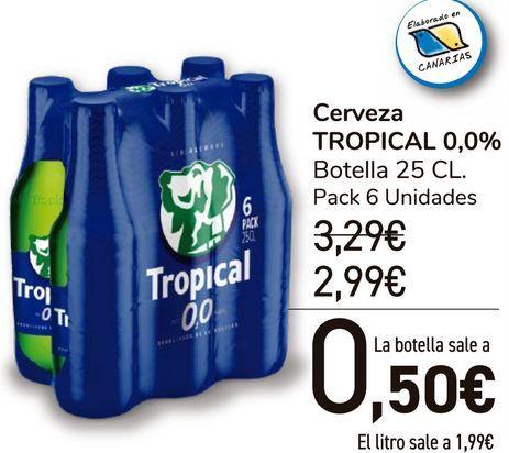Oferta de Cerveza TROPICAL 0,0%  por 2,99€