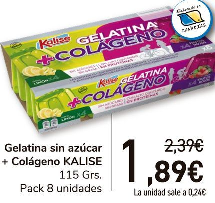 Oferta de Gelatina sin azúcar + Colágeno KALISE  por 1,89€