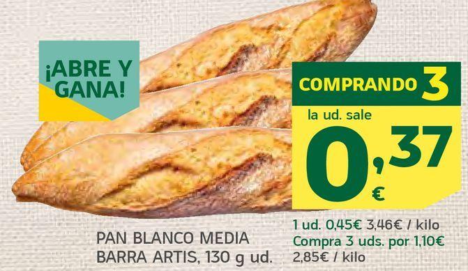 Oferta de Pan blanco media barra por 0,37€