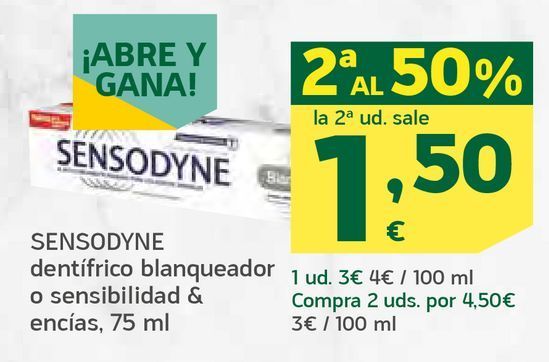Oferta de Dentífrico blanqueador o sensibilidad & encías por 1,5€