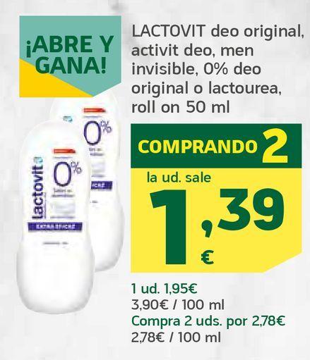 Oferta de Deo original, activit deo, men invisible, 0% deo original o lactourea, roll on por 1,39€