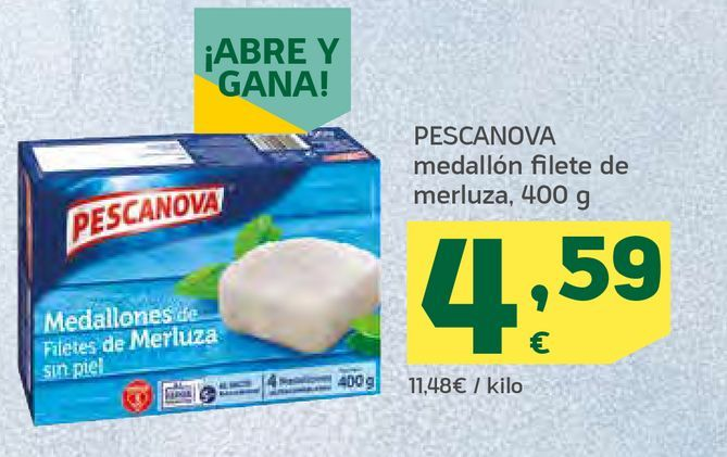 Oferta de Medallón filete de merluza por 4,59€