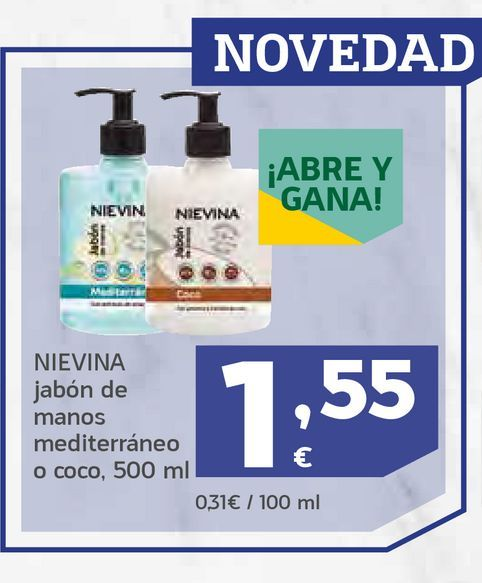 Oferta de Jabón de manos mediterráneo o coco por 1,55€