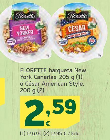 Oferta de Florette barqueta new york canarias o césar american style por 2,59€