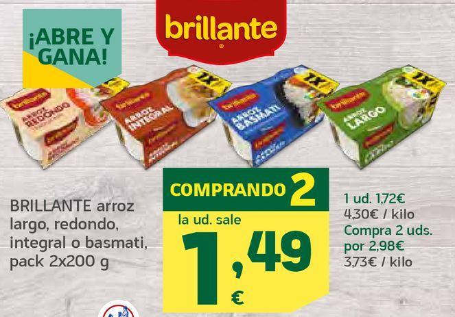 Oferta de Arroz largo, redondo, integral o basmati por 1,49€