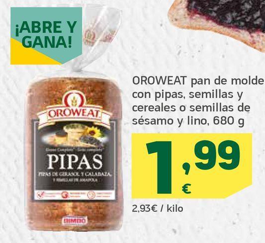 Oferta de Pan de molde con pipas, semillas y cereales o semillas de sésamo y lino por 1,99€