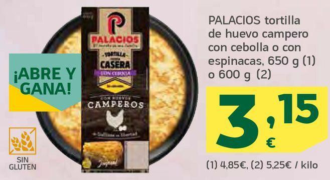 Oferta de Tortilla de huevo campero con cebolla o con espinacas por 3,15€