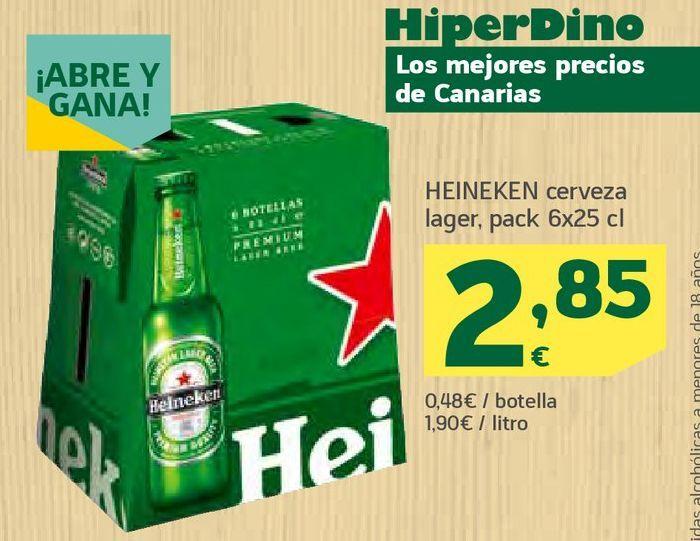 Oferta de Cerveza lager Heineken por 2,85€