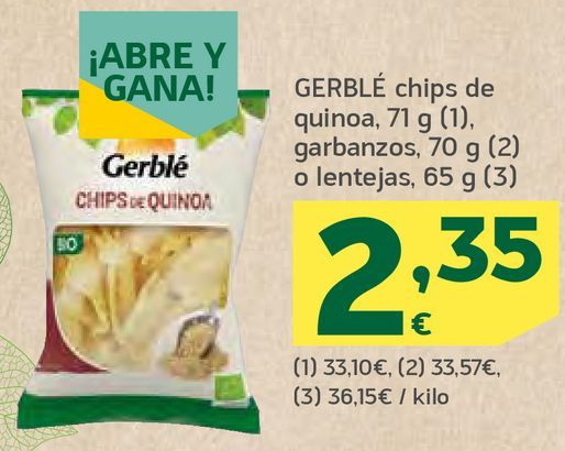 Oferta de Chips de quinoa, garbanzos o lentejas por 2,35€
