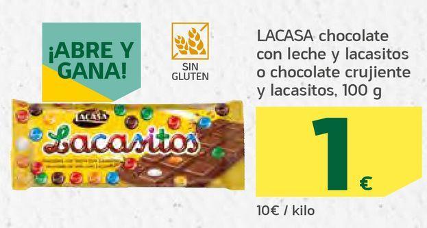 Oferta de Chocolate con leche y lacasitos o chocolate crujiente y lacasitos por 1€