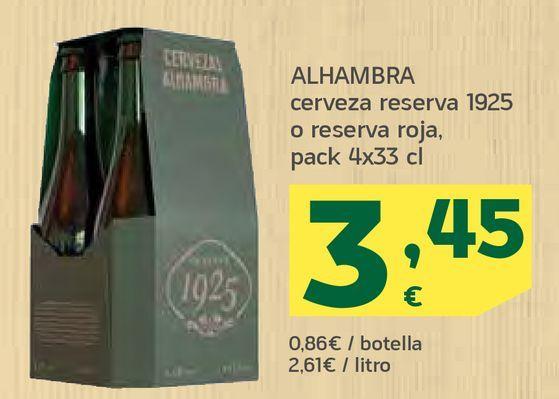 Oferta de Cerveza reserva o reserva roja por 3,45€