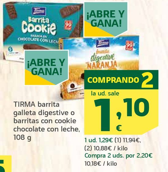 Oferta de Barrita galleta digestive o barrita con cookie chocolate con leche por 1,1€