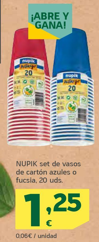 Oferta de Set de vasos de cartón azules o fucsia por 1,25€