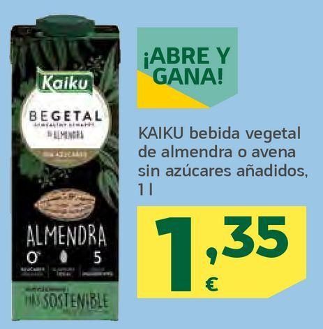 Oferta de Bebida vegetal de almendra o avena por 1,35€