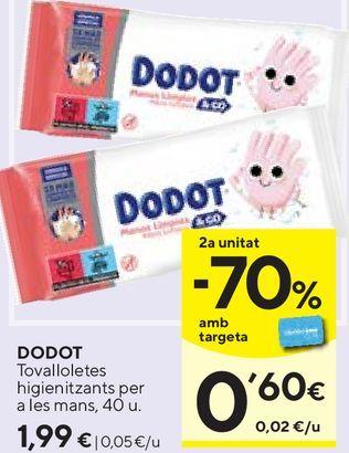 Oferta de Toallitas húmedas para bebé Dodot por 1,99€